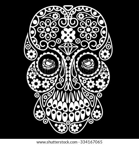 Ornamental skull for Mexican day of dead - stock vector