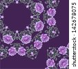 Ornamental summer floral pattern (roses). Vector illustration. - stock photo