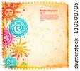 Ornamental suns with retro polka dot background - stock vector