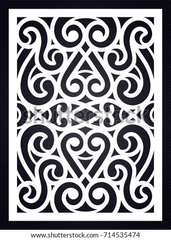 ornamental swirl template cutting exterior silhouette stock vector