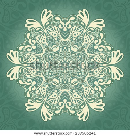 Ornamental template with circle ethnic dish element. Mandala design. Kaleidoscopic pattern. - stock vector