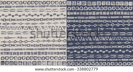 Ornamental tribal horizontal pattern in squares. Made with liquid ink, hand drawn, in two different colors. Simple stripe design, imperfect, stylish. Vector decorative illustration.