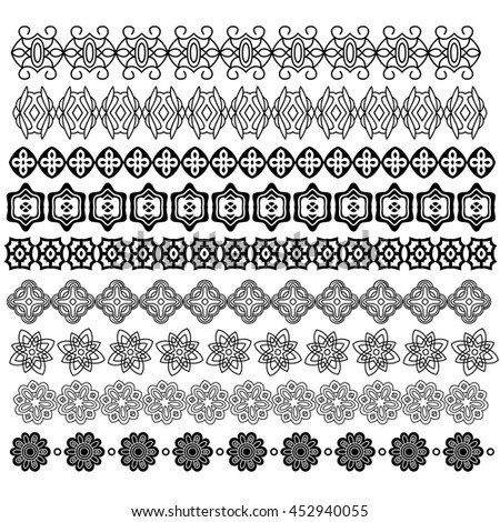 Ornamental trim collection isolated over white background