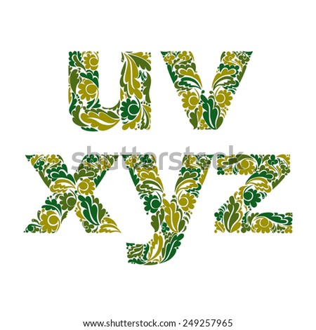Ornamental typescript, letters decorated with herbal pattern isolated on white. - stock vector