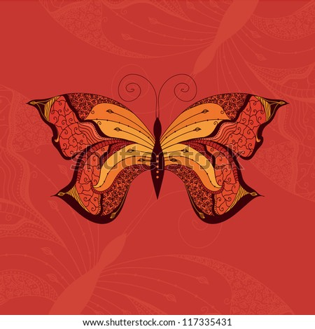 Ornamental vector butterfly with many details on orange background. Elegant design template. - stock vector