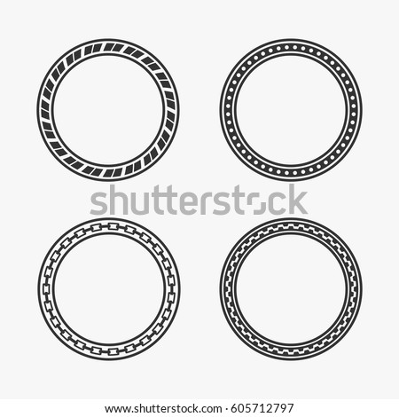ornamental vintage round banners set isolated stock vector 605712797 shutterstock. Black Bedroom Furniture Sets. Home Design Ideas