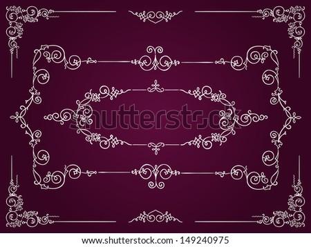 Ornamental white rectangular border frames on dark magenta background - stock vector