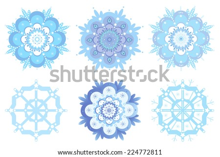 Ornamental winter snowflakes, flowers - stock vector
