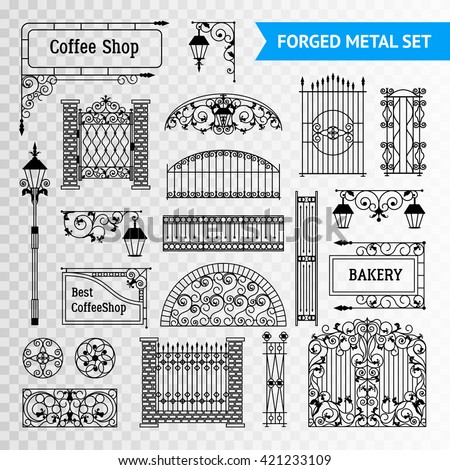 Ornamented iron castings steel forged fences elements set with gates railing and vintage shop signs black vector illustration  - stock vector