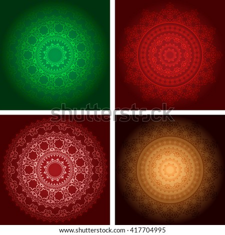 ornaments on dark backgrounds - vector set