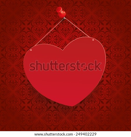 Ornaments with heart on the red background. Eps 10 vector file. - stock vector