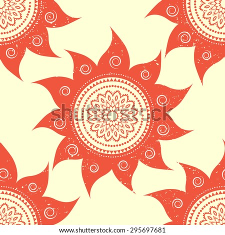 Ornametal Sun ethnic, celebration card with mandala. Invitation card in vector. Perfect cards for any other kind of design and other holiday, kaleidoscope,  medallion, yoga, india, arabic - stock vector