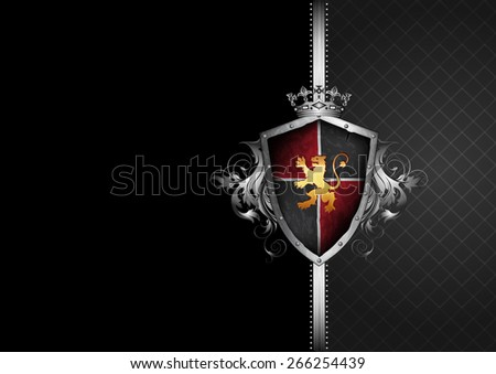 ornate black and gray frame with shield, helmet and halberds - stock vector