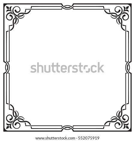 Ornate black square frame, corners. Visually intertwining lines.