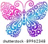 Ornate Butterfly Swirly Silhouette Tattoo Vector Illustration Design Element - stock vector