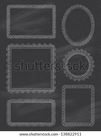 Ornate ChalkBoard Frames - stock vector