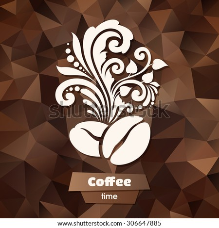 Ornate coffee symbol on abstract color background. Decor coffee beans and floral design elements for logo. Illustration for banner, label, package, business sign, identity, branding - stock vector