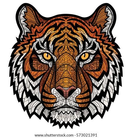 Tiger head stock images royalty free images vectors shutterstock - Tete de tigre dessin facile ...