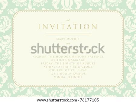 Ornate damask background. The Invitation - stock vector