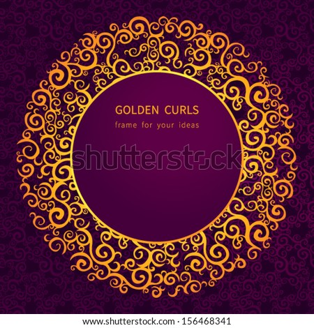 Ornate decorative frame on ornamental seamless background. Ornament in east style. Golden curls. It can be used for decorating of invitations, greeting cards, decoration for bags and clothes. - stock vector