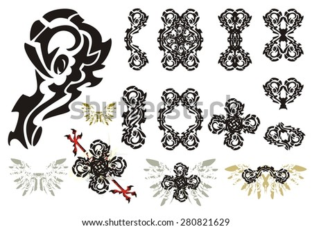 Ornate design elements. Decorative  tribal elements: frames, crosses, double floral symbols and other - stock vector