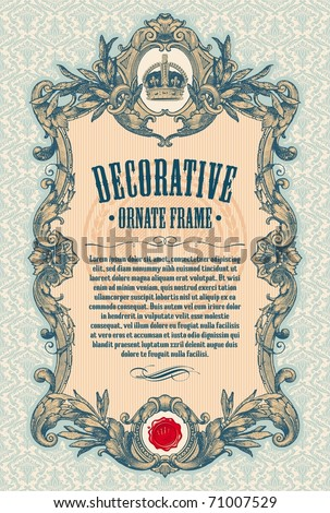 Ornate engraved vintage decorative vector frame with place for text or message - stock vector