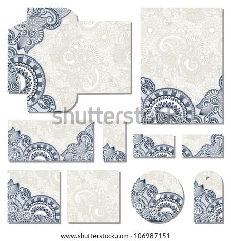 ornate floral business style templates - stock vector