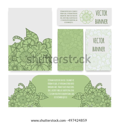 Ornate floral flyer with flowers. Doodle sharpie background. template for card, poster, leaflet. eps10