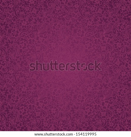 Ornate floral seamless pattern in east style. Purple brocade background. - stock vector
