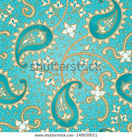 Ornate floral seamless texture. Persian style background. - stock vector