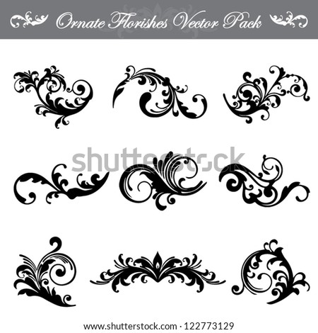 Ornate Flourishes Vector Pack - stock vector