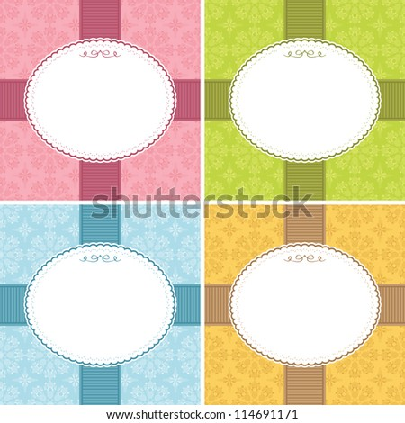 ornate frame decorations with floral patterns, four variations