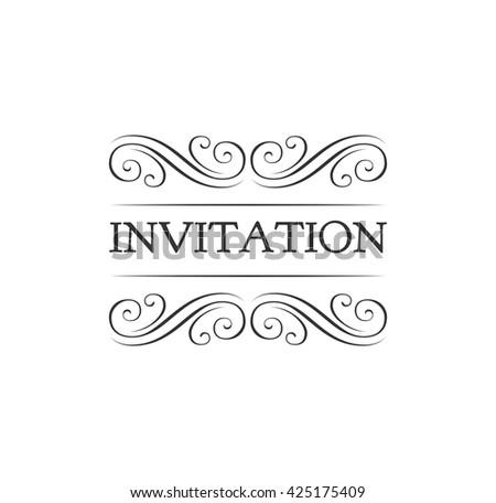 Ornate frame element. Vintage filigree decoration. Filidree ornate frame element.  Divider scroll swirl invitation. Ornate divider filigree invitation. Vintage ornate filigree frame. Scroll invitation - stock vector