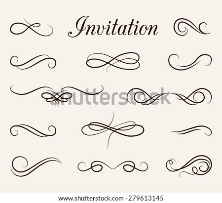 Ornate frame elements. Vintage and filigree decoration. Ornate frames and scroll  swirls element. Filigree divider Invitation. scroll invitation. filigree element. divider vintage ornament. swirl - stock vector