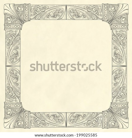Ornate frame in vintage engraving style on blank old paper background template - stock vector