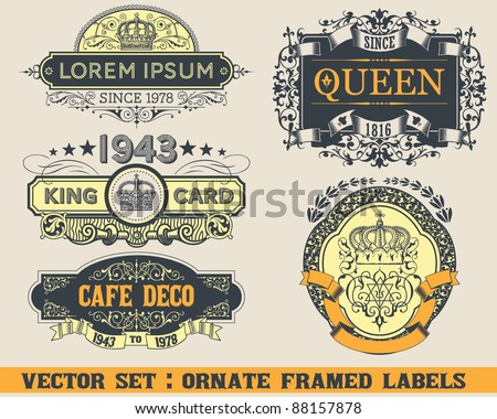 Ornate Framed Labels - stock vector