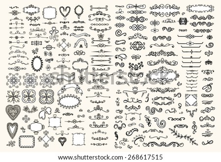 Ornate frames and floral elements - stock vector