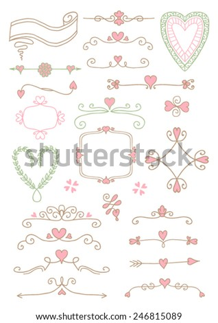 Ornate frames and hearts elements - stock vector