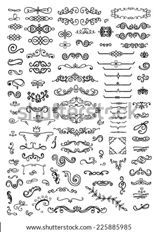 Ornate frames and scroll elements - stock vector