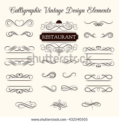 Ornate frames and scroll elements. Diving floral ornament menu frame. Filigree swirl wedding invitation. Menu page decorative. Calligraphic vintage design element.  Divider scroll floral ornate.  - stock vector