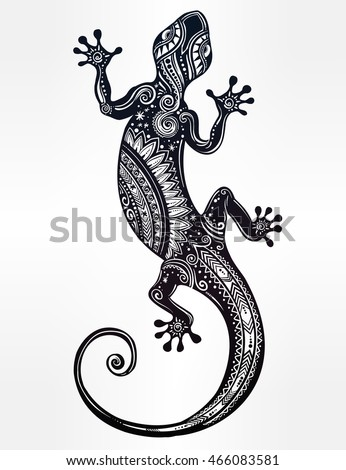 ornate gecko lizard in in tattoo style isolated vector illustration ideal for coloring page