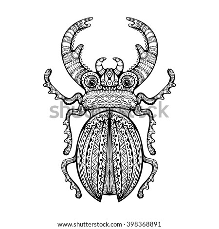 Ornate Giant Stag Beetle. Black and white decorative fancy insect hand drawn zenart isolated design element. Vector illustration. - stock vector