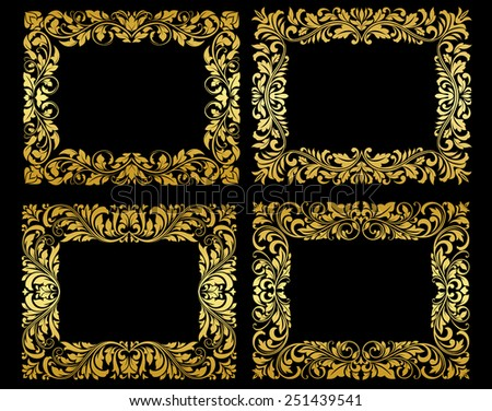 Ornate gold floral and foliate frames in elegant flowing patterns, design elements on black - stock vector