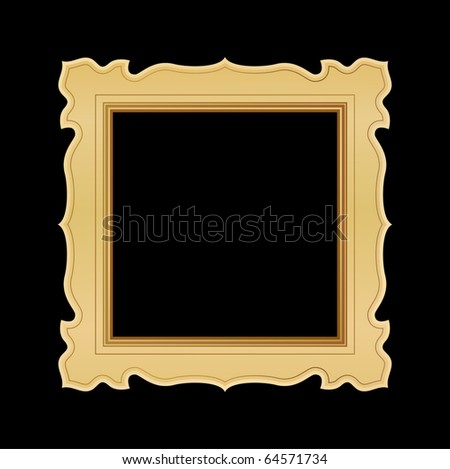 ornate gold frame on black - stock vector