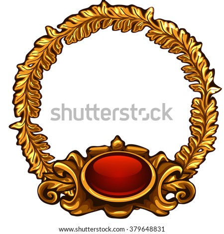 ornate gold frame round shape interior design the vector image