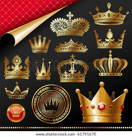 Ornate golden royal crowns - vector set - stock vector