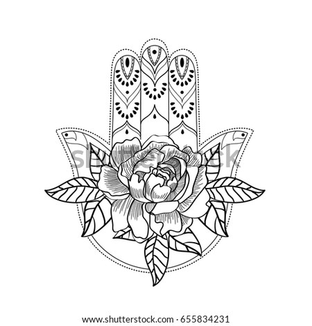Ornate Hamsa Hand Talisman Decorated With Rose Black And White Traditional Lucky Charm Adult