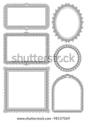 Ornate hand drawn frames two - stock vector
