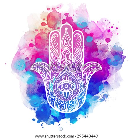 Ornate hand drawn hamsa. Popular Arabic and Jewish amulet. Vector illustration over colorful watercolor splash. - stock vector