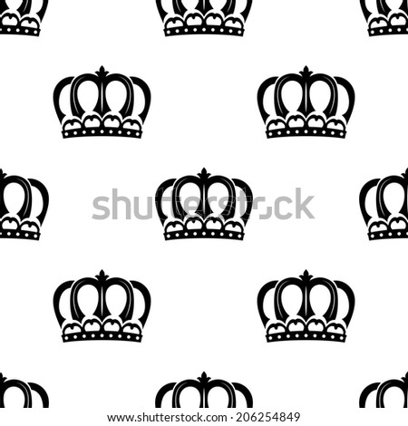Ornate heraldic seamless pattern of royal crowns isolated over white background for wallpaper, tiles and fabric design - stock vector